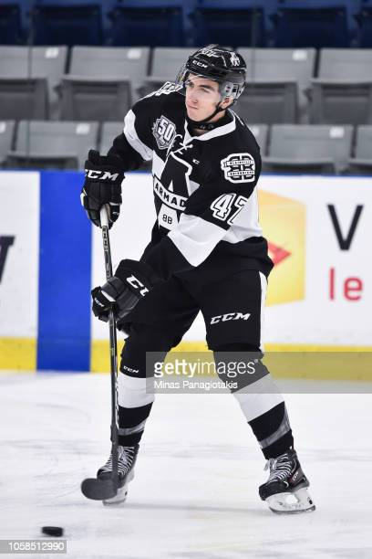 Simon Pinard of the BlainvilleBoisbriand Armada skates in the warmup prior to the QMJHL game against the Valdu2019Or Foreurs at Centre d'Excellence...