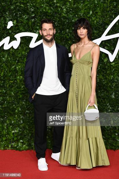 Simon Porte Jacquemus and Mica Arganaraz arrive at The Fashion Awards 2019 held at Royal Albert Hall on December 02, 2019 in London, England.