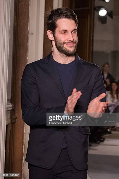 Simon Porte Jacquemus appears on the runway during the Jacquemus show as part of the Paris Fashion Week Womenswear Fall/Winter 2015/2016 on March 3...