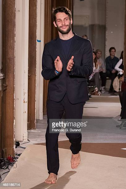 Simon Porte Jacquemus walks the runway after the Jacquemus show as part of the Paris Fashion Week Womenswear Fall/Winter 2015/2016 on March 3 2015 in...