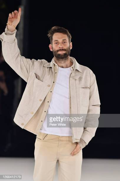 Simon Porte Jacquemus walks the runway during the Jacquemus Menswear Fall/Winter 2020-2021 show as part of Paris Fashion Week on January 18, 2020 in...