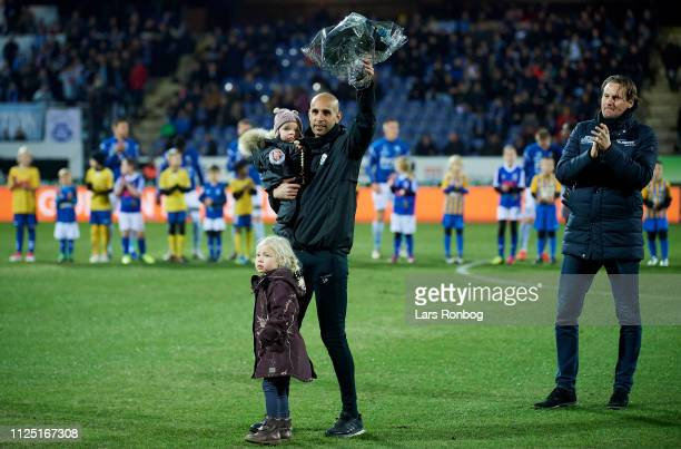 Simon Poulsen, assistant coach of Sonderjyske receiving flowers prior to the Danish Superliga match between Sonderjyske and AGF Aarhus at Sydbank...
