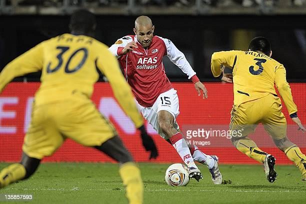 Simon Poulsen of AZ during the UEFA Europa League match between AZ Alkmaar and Metalist Kharkiv at the AFAS stadium on December 15, 2011 in Alkmaar,...