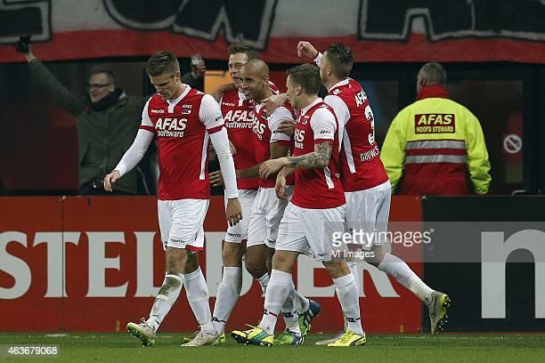 , Simon Poulsen of AZ, Robert Muhren of AZ, Simon Poulsen of AZ, Mattias Johansson of AZ, Jeffrey Gouweleeuw of AZ during the Dutch Eredivisie match...