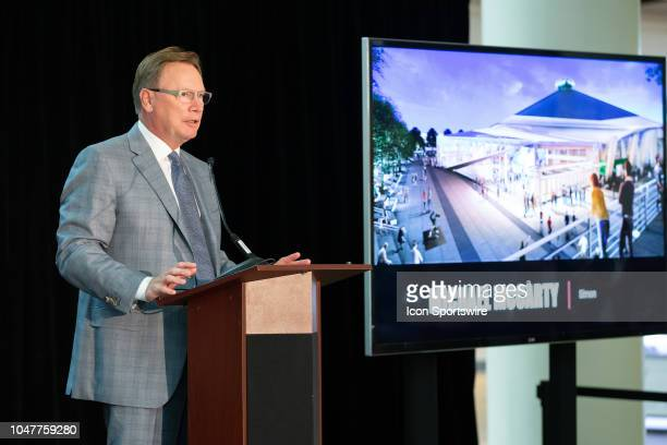 Simon Property Group chief operating officer Michael McCarty addresses the audience during a press conference to announce the potential team training...