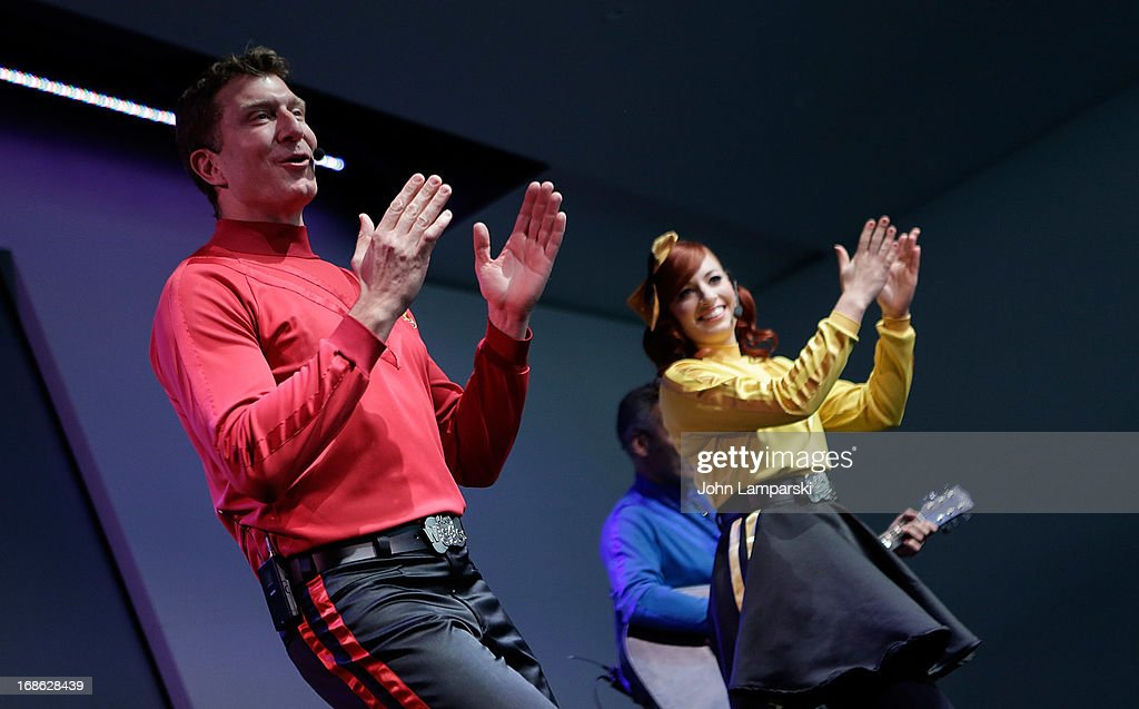 Simon Pryce and Emma Watkins of the Wiggles perform at the at Apple Store Soho on May 12, 2013 in New York City.