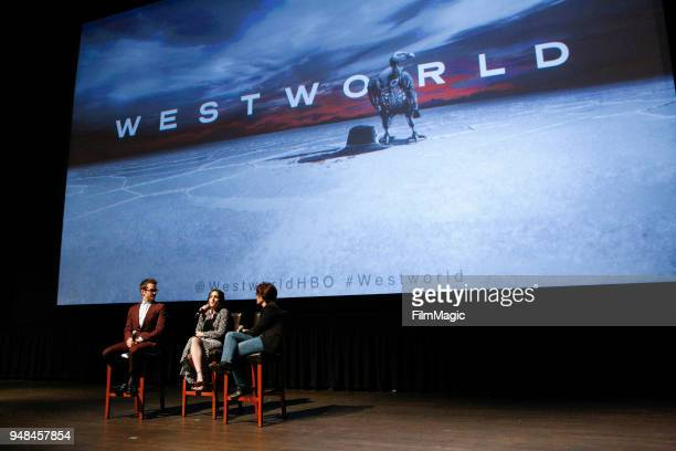Simon Quarterman Shannon Woodward and Kara Swisher attend the San Francisco Premiere of Westworld Season 2 from HBO on April 18 2018 in San Francisco...