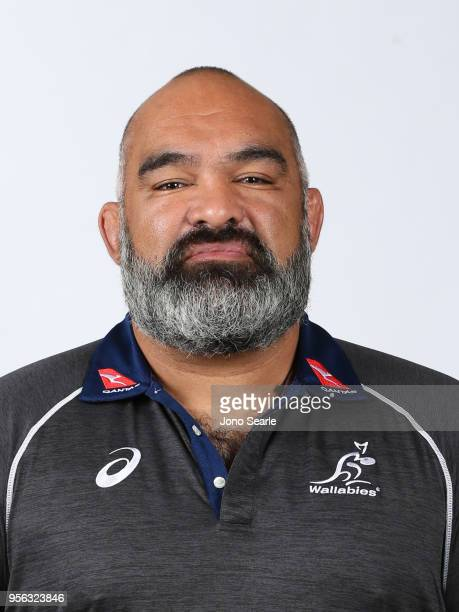 Simon Raiwalui forwards coach poses during the Australian Wallabies headshot session on May 7 2018 in Gold Coast Australia