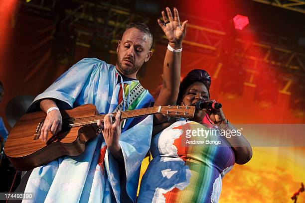 Simon Ratcliffe and Lisa Kekaula of Basement Jaxx perform on stage on Day 1 of Kendal Calling Festival at Lowther Deer Park on July 26 2013 in Kendal...