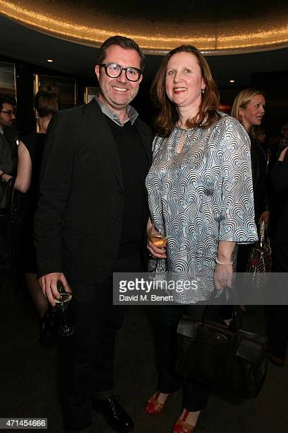 Simon Rawlings and Angela Hartnett attend the GQ Food Drink Awards at The Bulgari Hotel on April 28 2015 in London England