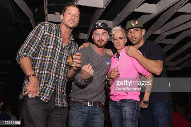 Simon Rex Aaron Paul Samantha Ronson and Billy Dec attend the Lollapalooza 2013 after party at The Underground on August 3 2013 in Chicago Illinois