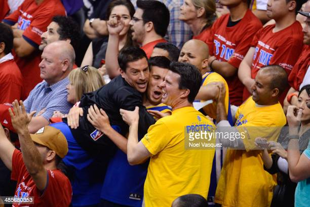 Simon Rex attends a playoff basketball between the Golden State Warriors and the Los Angeles Clippers at Staples Center on April 19 2014 in Los...