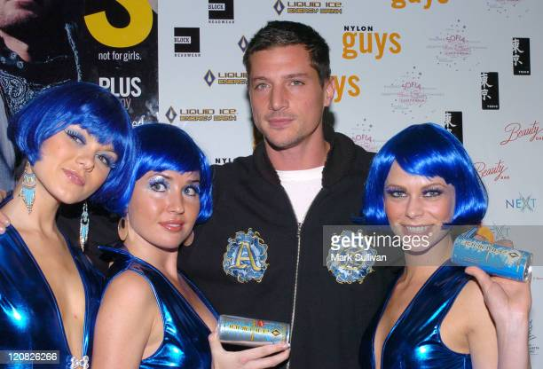Simon Rex with Liquid Ice girls during Nylon Guys Magazine Launch Party at Tokio in Hollywood California United States