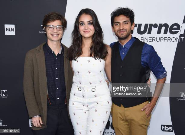 Simon Rich Geraldine Viswanathan and Karan Soni attend the Turner Upfront 2018 arrivals on the red carpet at The Theater at Madison Square Garden on...