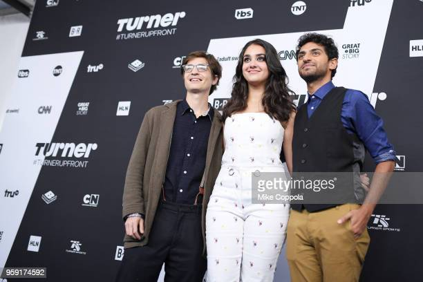 Simon Rich Geraldine Viswanathan and Karan Soni attends the Turner Upfront 2018 arrivals on the red carpet at The Theater at Madison Square Garden on...
