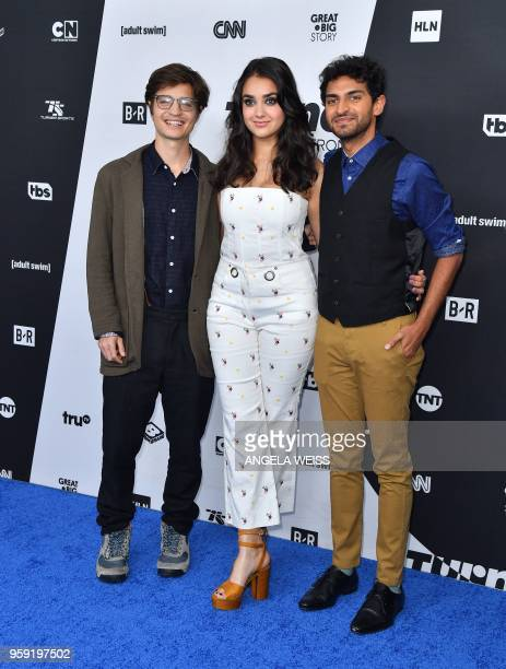 Simon Rich Geraldine Viswanathan and Karan Soni attends the Turner Upfront 2018 arrivals at The Theater at Madison Square Garden on May 16 2018 in...