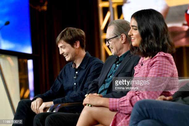 Simon Rich Steve Buscemi and Geraldine Viswanathan and Karan Soni of 'Miracle Workers Dark Ages' appear onstage during the TBS segment of the 2020...