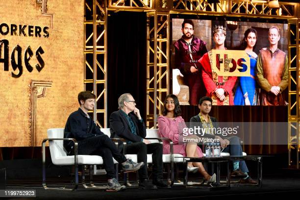 Simon Rich Steve Buscemi Geraldine Viswanathan and Karan Soni of 'Miracle Workers Dark Ages' appear onstage during the TBS segment of the 2020 Winter...