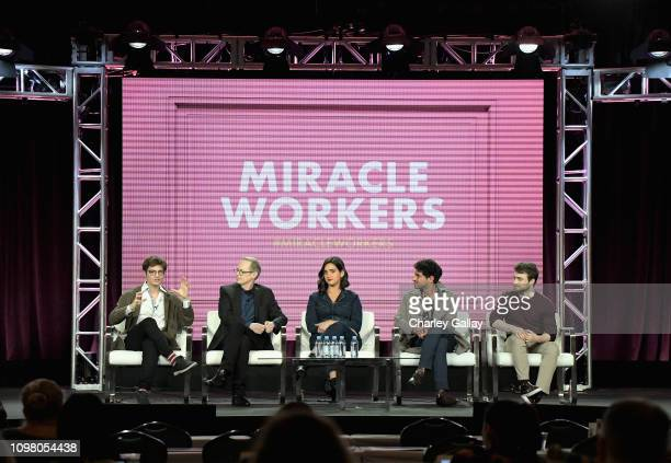 Simon Rich Steve Buscemi Geraldine Viswanathan Karan Soni and Daniel Radcliffe of 'Miracle Workers' speak onstage during the TBS portion of the TCA...