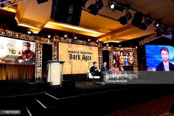 Simon Rich, Steve Buscemi, Geraldine Viswanathan, Karan Soni and Daniel Radcliffe via satellite of 'Miracle Workers: Dark Ages' appear onstage during...