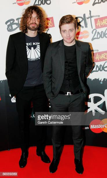 Simon Rix and Ricky Wilson of the 'Kaiser Chiefs' attend the 'Brit Awards 2006 with Mastercard Shortlist Announcement' at the Riverside Studios on...