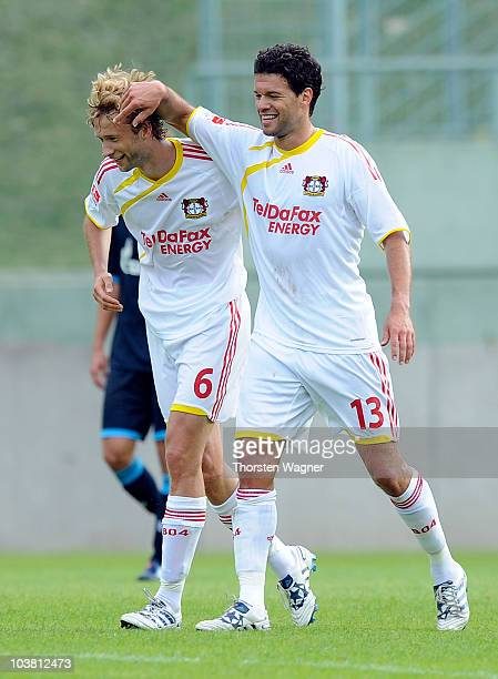 Simon Rolfes celebrates after scoring the 20 with his team mate Michael Ballack during the friendly match between FC Schalke 04 and Bayer 04...