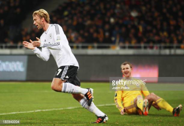Simon Rolfes of Germany celebrates after scoring his team's second goal during the International Friendly match between Ukraine and Germany at...