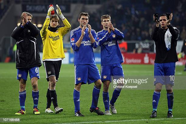 Simon Rolfes Rene Adler Stefan Reinartz Daniel Schwaab and Renato Augusto of Leverkusen look dejected after the 22 draw of the Bundesliga match...