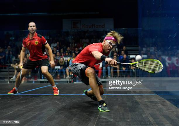 Simon Rosner of Germany plays against Wojciech Nowisz of Poland during the Squash Men's Qualification match of The World Games at Hasta La Vista...