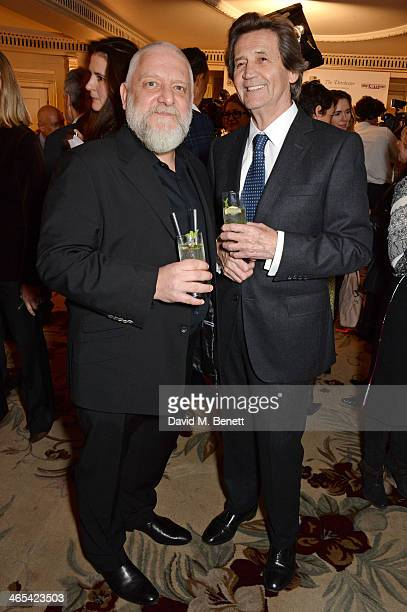 Simon Russell Beale and Lord Melvyn Bragg attend a drinks reception at the South Bank Sky Arts awards at the Dorchester Hotel on January 27 2014 in...