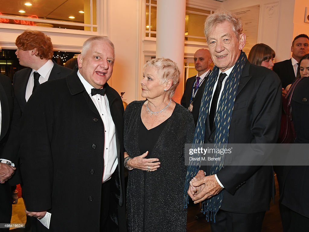 Simon Russell Beale, Dame Judi Dench and Sir Ian McKellen attend a champagne reception ahead of The London Evening Standard Theatre Awards in partnership with The Ivy at The Old Vic Theatre on November 22, 2015 in London, England.