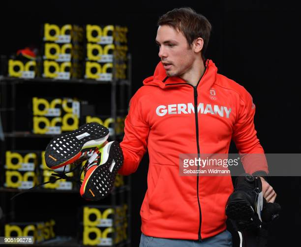 Simon Schempp carries his shoes at the 2018 PyeongChang Olympic Games German Team kit handover at Postpalast on January 15 2018 in Munich Germany