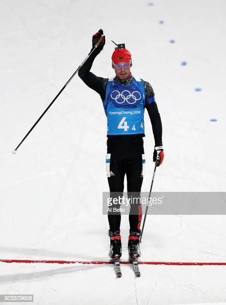 Simon Schempp of Germany celebrates winning the bronze medal during the Men's 4x7.5km Biathlon Relay on day 14 of the PyeongChang 2018 Winter Olympic...
