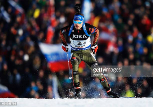 Simon Schempp of Germany competes in the fourth leg of the Mixed Relay competition of the IBU World Championships Biathlon 2017 at the Biathlon...