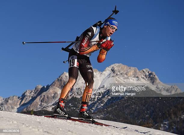 Simon Schempp of Germany competes in the men's 10 km sprint event during the IBU Biathlon World Cup on December 12 2014 in Hochfilzen Austria