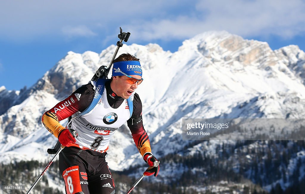 Simon Schempp of Germany competes in the men's 12.5km pursuit event during the IBU Biathlon World Cup on December 8, 2013 in Hochfilzen, Austria.