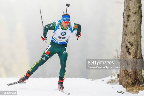 Simon Schempp of Germany in action during the IBU Biathlon World Cup Men's 20km on December 6 2018 in Pokljuka Slovenia