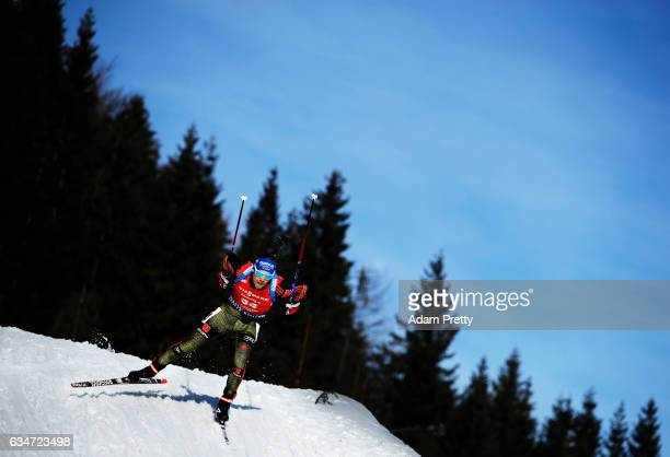 Simon Schempp of Germany in action during the men's 10km sprint competition of the IBU World Championships Biathlon 2017 at the Biathlon Stadium...