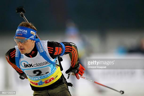 Simon Schempp of Germany skates during the IKK classic Biathlon World Team Challenge 2015 at VeltinsArena on December 28 2015 in Gelsenkirchen Germany