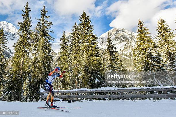 Simon Schempp of Germany takes 1st place during the IBU Biathlon World Cup Men's Sprint on January 22 2015 in AntholzAnterselva Italy
