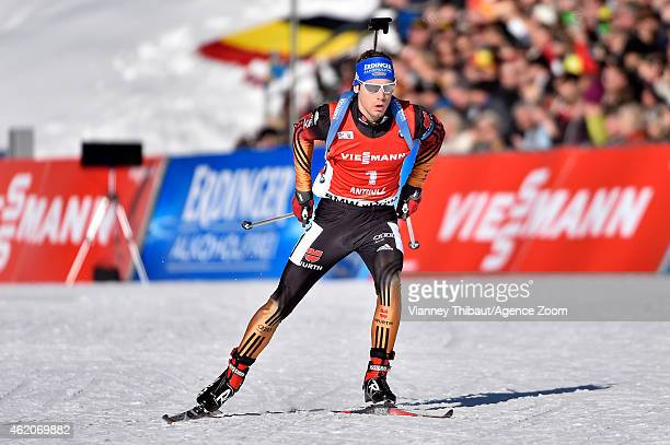 Simon Schempp of Germany takes 1st place during the IBU Biathlon World Cup Men's and Women's Pursuit on January 24 2015 in AntholzAnterselva Italy