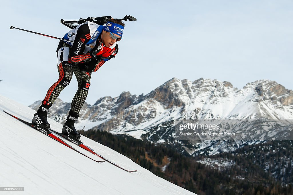 Simon Schempp of Germany takes 1st place during the IBU Biathlon World Cup Men's and Women's Sprint on December 11, 2015 in Hochfilzen, Austria.