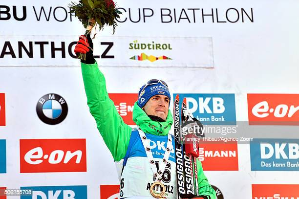 Simon Schempp of Germany takes 1st place during the IBU Biathlon World Cup Men's Sprint on January 22, 2016 in Antholz-Anterselva, Italy.