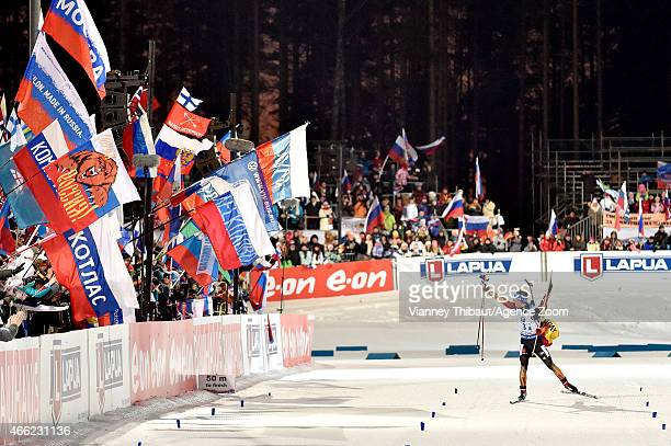 Simon Schempp of Germany takes 1st place during the IBU Biathlon World Championships Men's Relay on March 14, 2015 in Kontiolahti, Finland.