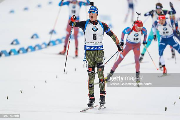 Simon Schempp of Germany takes 2nd place during the IBU Biathlon World Cup Men's and Women's Mass Start on December 18, 2016 in Nove Mesto na Morave,...