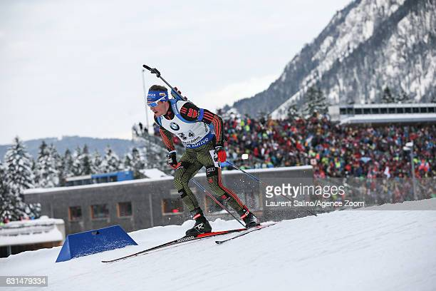 Simon Schempp of Germany takes 3rd place during the IBU Biathlon World Cup Men's Relay on January 11, 2017 in Ruhpolding, Germany.