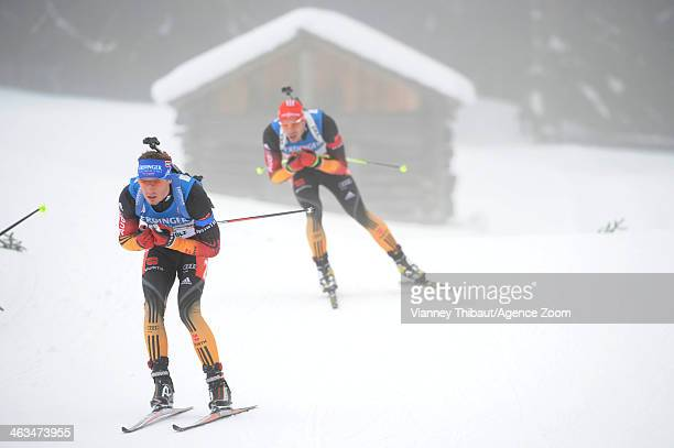 Simon Schempp of Germany takes takes 1st place during the IBU Biathlon World Cup Men's and Women's Pursuit on January 18 2014 in AntholzAnterselva...