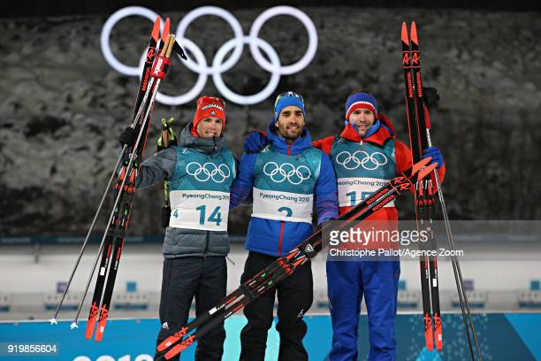 Simon Schempp of Germany wins the silver medal Martin Fourcade of France wins the gold medal Emil Hegle Svendsen of Norway wins the bronze medal...