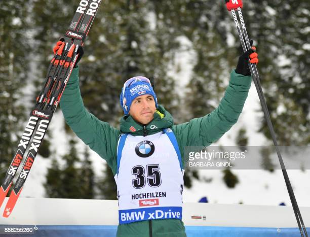 Simon Schempp of of Germany celebrates placing fourth at the men's 10 km sprint event during the IBU World Cup Biathlon in Hochfilzen Austria...