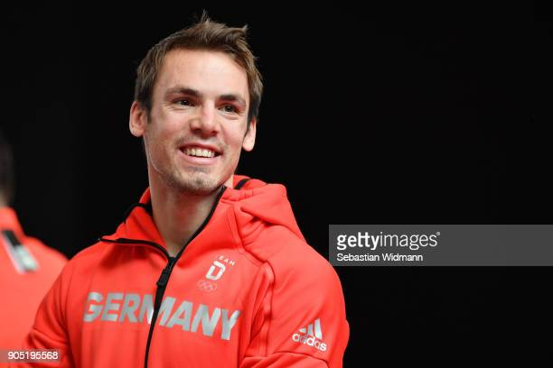 Simon Schempp smiles at the 2018 PyeongChang Olympic Games German Team kit handover at Postpalast on January 15 2018 in Munich Germany